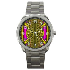 Fractal In Purple And Gold Sport Metal Watch by Simbadda