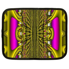 Fractal In Purple And Gold Netbook Case (xl)  by Simbadda