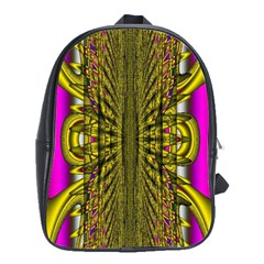 Fractal In Purple And Gold School Bags(large)