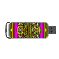 Fractal In Purple And Gold Portable Usb Flash (one Side) by Simbadda
