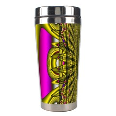 Fractal In Purple And Gold Stainless Steel Travel Tumblers by Simbadda