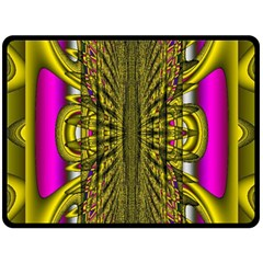 Fractal In Purple And Gold Double Sided Fleece Blanket (large)  by Simbadda