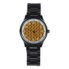 Gold Abstract Wallpaper Background Stainless Steel Round Watch by Simbadda