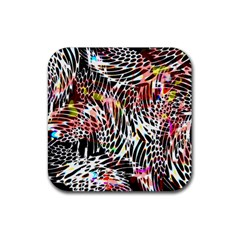 Abstract Composition Digital Processing Rubber Square Coaster (4 Pack)  by Simbadda