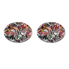 Abstract Composition Digital Processing Cufflinks (oval) by Simbadda