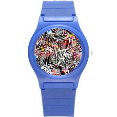 Abstract Composition Digital Processing Round Plastic Sport Watch (s) by Simbadda