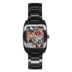 Abstract Composition Digital Processing Stainless Steel Barrel Watch by Simbadda