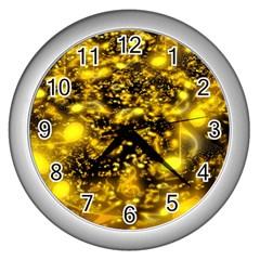 Vortex Glow Abstract Background Wall Clocks (silver)  by Simbadda