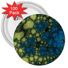 Holly Frame With Stone Fractal Background 3  Buttons (100 Pack)