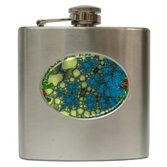 Holly Frame With Stone Fractal Background Hip Flask (6 Oz) by Simbadda