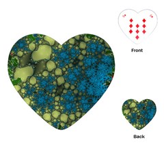 Holly Frame With Stone Fractal Background Playing Cards (heart)  by Simbadda