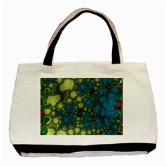 Holly Frame With Stone Fractal Background Basic Tote Bag by Simbadda
