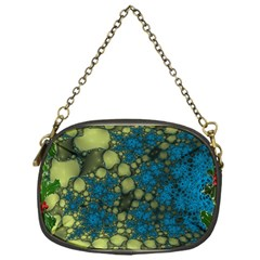 Holly Frame With Stone Fractal Background Chain Purses (one Side)  by Simbadda