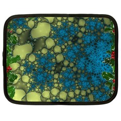 Holly Frame With Stone Fractal Background Netbook Case (xxl)  by Simbadda