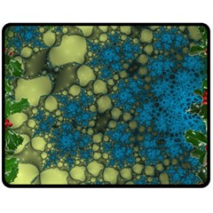 Holly Frame With Stone Fractal Background Fleece Blanket (medium)  by Simbadda
