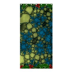Holly Frame With Stone Fractal Background Shower Curtain 36  X 72  (stall)  by Simbadda