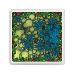 Holly Frame With Stone Fractal Background Memory Card Reader (square)  by Simbadda