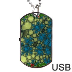 Holly Frame With Stone Fractal Background Dog Tag USB Flash (Two Sides) by Simbadda
