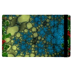 Holly Frame With Stone Fractal Background Apple Ipad 2 Flip Case by Simbadda