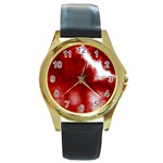 Cherry Cream Sky Round Gold Metal Watch