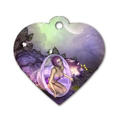 Wonderful Fairy In The Wonderland , Colorful Landscape Dog Tag Heart (two Sides) by FantasyWorld7