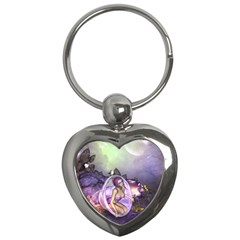 Wonderful Fairy In The Wonderland , Colorful Landscape Key Chains (heart)  by FantasyWorld7