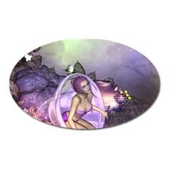 Wonderful Fairy In The Wonderland , Colorful Landscape Oval Magnet by FantasyWorld7