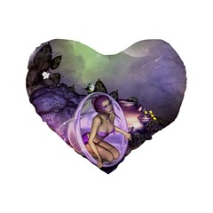 Wonderful Fairy In The Wonderland , Colorful Landscape Standard 16  Premium Flano Heart Shape Cushions by FantasyWorld7