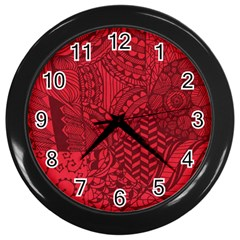 Deep Red Background Abstract Wall Clocks (black) by Simbadda