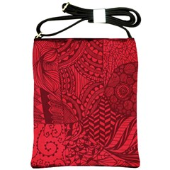 Deep Red Background Abstract Shoulder Sling Bags by Simbadda