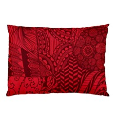Deep Red Background Abstract Pillow Case (two Sides) by Simbadda