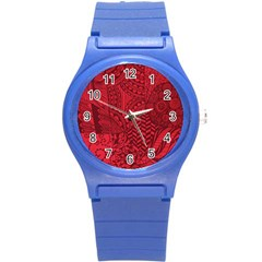 Deep Red Background Abstract Round Plastic Sport Watch (s) by Simbadda