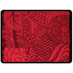 Deep Red Background Abstract Double Sided Fleece Blanket (large)  by Simbadda