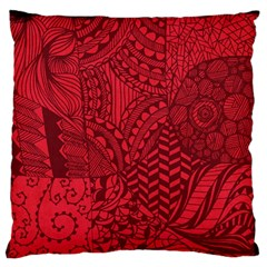 Deep Red Background Abstract Large Flano Cushion Case (one Side) by Simbadda