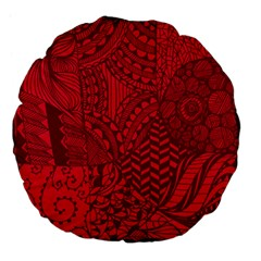 Deep Red Background Abstract Large 18  Premium Flano Round Cushions by Simbadda
