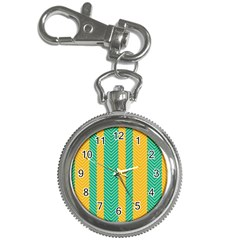 Green And Orange Herringbone Wallpaper Pattern Background Key Chain Watches by Simbadda