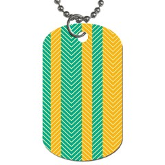 Green And Orange Herringbone Wallpaper Pattern Background Dog Tag (Two Sides) by Simbadda