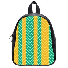 Green And Orange Herringbone Wallpaper Pattern Background School Bags (small)  by Simbadda