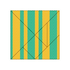 Green And Orange Herringbone Wallpaper Pattern Background Acrylic Tangram Puzzle (4  X 4 ) by Simbadda