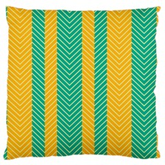 Green And Orange Herringbone Wallpaper Pattern Background Large Cushion Case (two Sides) by Simbadda