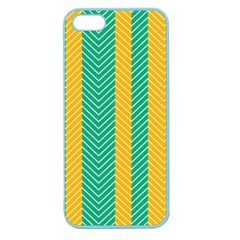 Green And Orange Herringbone Wallpaper Pattern Background Apple Seamless Iphone 5 Case (color) by Simbadda