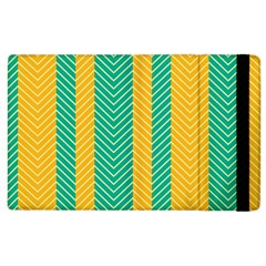 Green And Orange Herringbone Wallpaper Pattern Background Apple Ipad 3/4 Flip Case by Simbadda