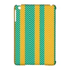 Green And Orange Herringbone Wallpaper Pattern Background Apple Ipad Mini Hardshell Case (compatible With Smart Cover) by Simbadda