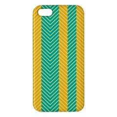 Green And Orange Herringbone Wallpaper Pattern Background Apple Iphone 5 Premium Hardshell Case by Simbadda