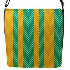 Green And Orange Herringbone Wallpaper Pattern Background Flap Messenger Bag (s) by Simbadda