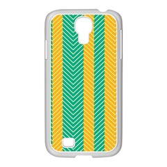 Green And Orange Herringbone Wallpaper Pattern Background Samsung Galaxy S4 I9500/ I9505 Case (white) by Simbadda