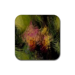 Abstract Brush Strokes In A Floral Pattern  Rubber Square Coaster (4 Pack)  by Simbadda