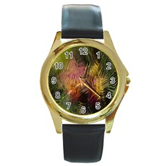 Abstract Brush Strokes In A Floral Pattern  Round Gold Metal Watch by Simbadda