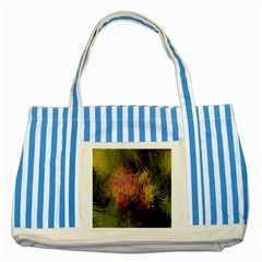 Abstract Brush Strokes In A Floral Pattern  Striped Blue Tote Bag by Simbadda