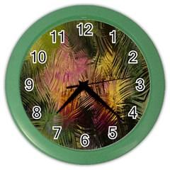 Abstract Brush Strokes In A Floral Pattern  Color Wall Clocks by Simbadda
